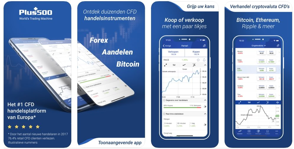 Plus500 Mobiel Beleggen app, beleggingsapp
