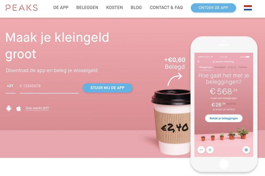 Peaks beleggen review, peaks beleggingsrekening, beleggen met wisselgeld, Peaks Rabobank app